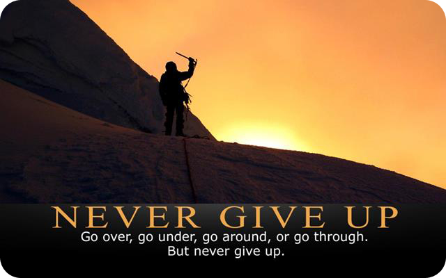 never give up 640x400